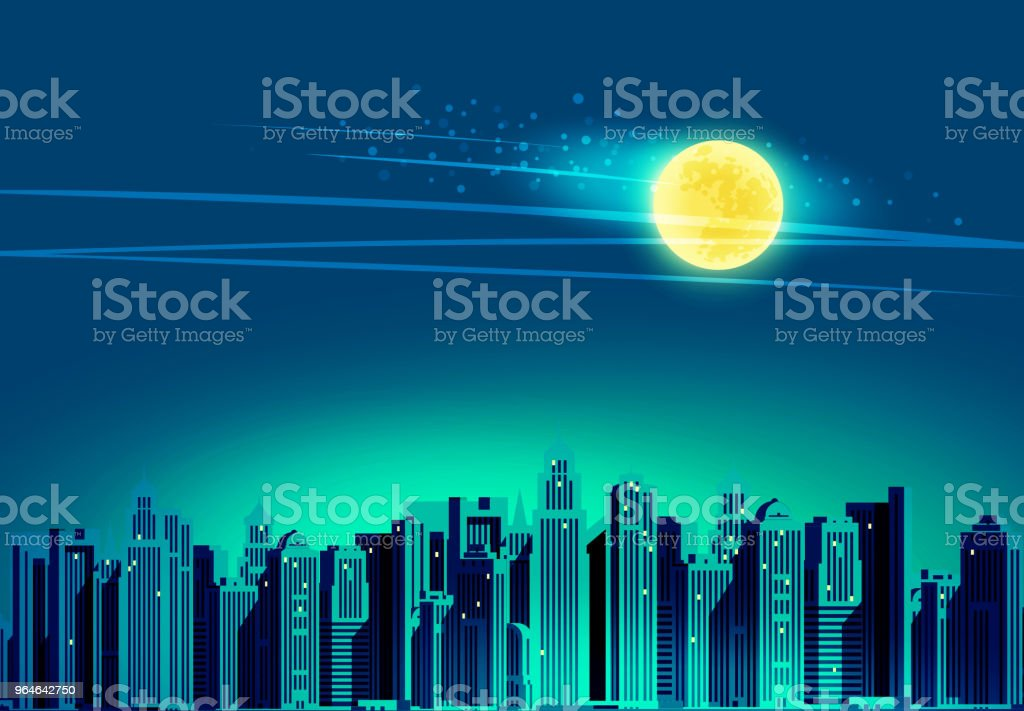 Night city, skyscrapers. Vector illustration royalty-free night city skyscrapers vector illustration stock vector art & more images of architecture