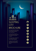Night city traveling tourist guide book. Brochure, flyer, cover, poster or guidebook template. Vector modern illustration.