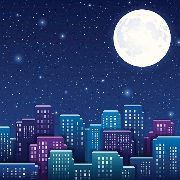 night city - moon stock illustrations, clip art, cartoons, & icons