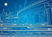 Night city, vector town, vector lines overpass