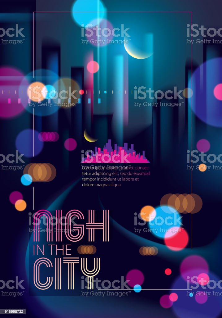 Night City With Blurred Lights Bokeh Texture Vector Illustration