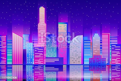 istock Night cityscape background. Evening city buildings with reflection in the water. Enbankment 1174942308