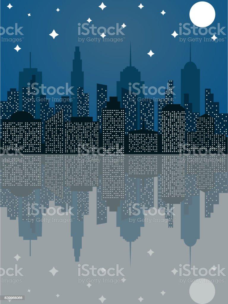 フラット スタイルで夜の街並 ベクターアートイラスト