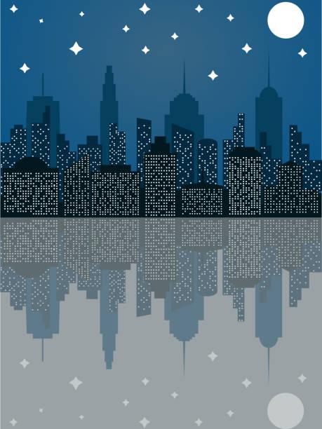 フラット スタイルで夜の街並 - 漫画の風景点のイラスト素材/クリップアート素材/マンガ素材/アイコン素材