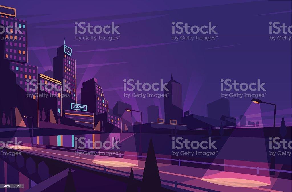 Night cityscape. vector art illustration