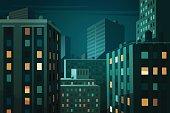 Night cityscape. Vector illustration.