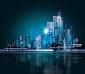 Abstract modern night City skyline
