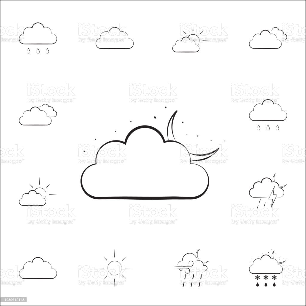 night cloud sign icon. Weather icons universal set for web and mobile...