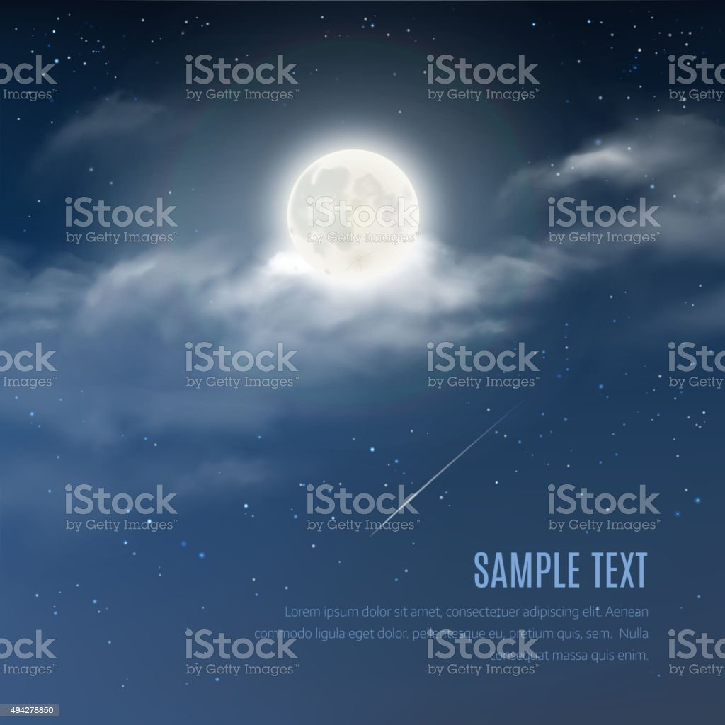Night cloudy sky with the shining stars and moon vector art illustration