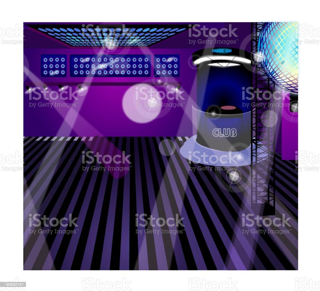 Night club interior vector art illustration
