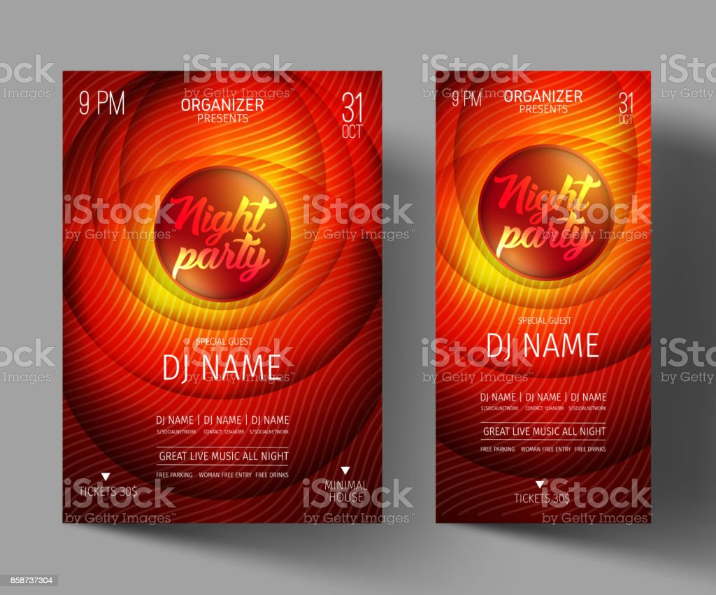 Night Club Party Flyer or Poster Layout Template. vector art illustration