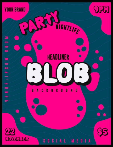 Night Club Party Flyer or Poster Template for DJ Lineup Banner or Music Festival with Bright and Bold Pink Blob Splash on Dark Blue Background vector art illustration
