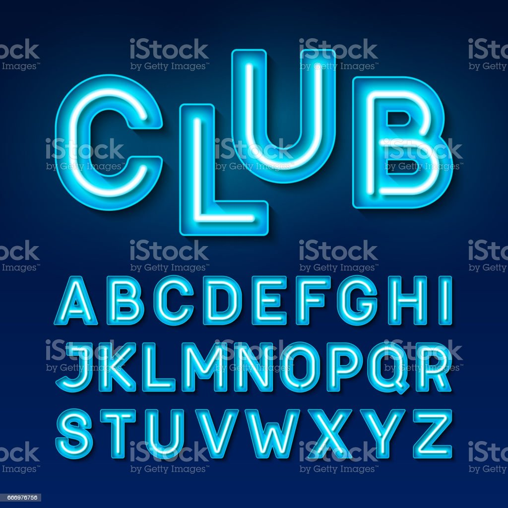 Night club vintage style neon font vector art illustration