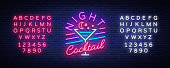 Night Cocktail is a neon sign. Cocktail symbol, Neon Style, Light Banner, Night Bright Neon Advertising for Cocktail Bar, Party, Pub. Alcohol. Vector illustration. Editing text neon sign.