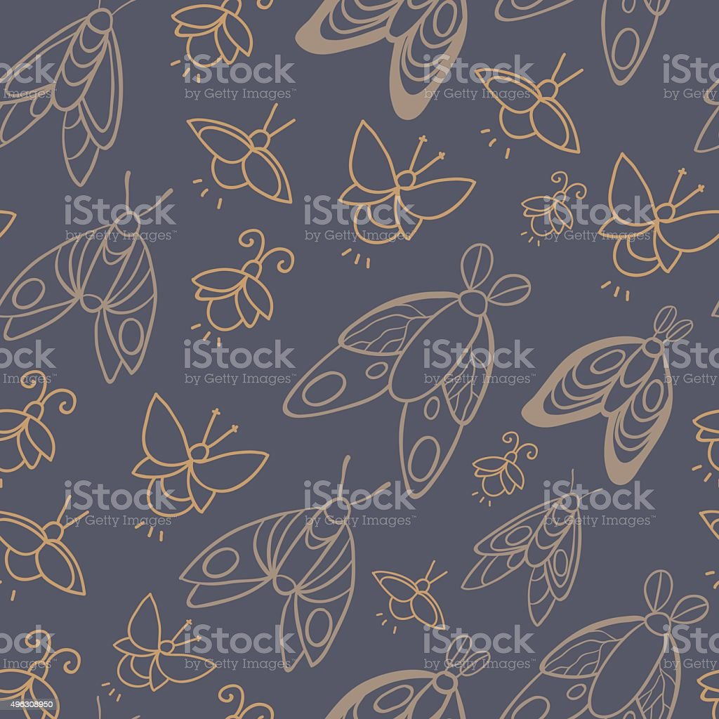 Night creatures seamless vector pattern with moths and fireflies. vector art illustration