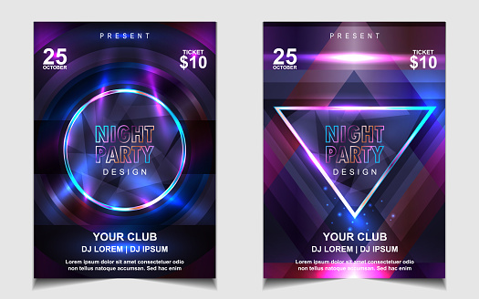 Night dance party music layout cover design template background with colorful dark blue glitters style. Light electro vector