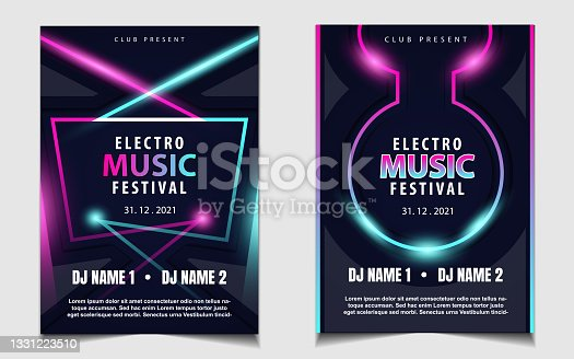 istock Night dance party music layout cover design template background with colorful dark blue glitters style. Light electro vector 1331223510