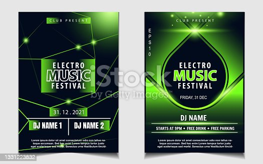 istock Night dance party music layout cover design template background with lighting green neon style. Light electro vector 1331223832