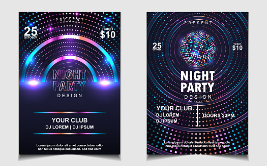 Night dance party music poster flyer layout design template background with neon light and dynamic style.