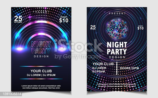 istock Night dance party music poster flyer layout design template background with neon light and dynamic style. 1251305314