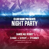 Night Dance Party Poster Background Template. Festival Vector mockup.