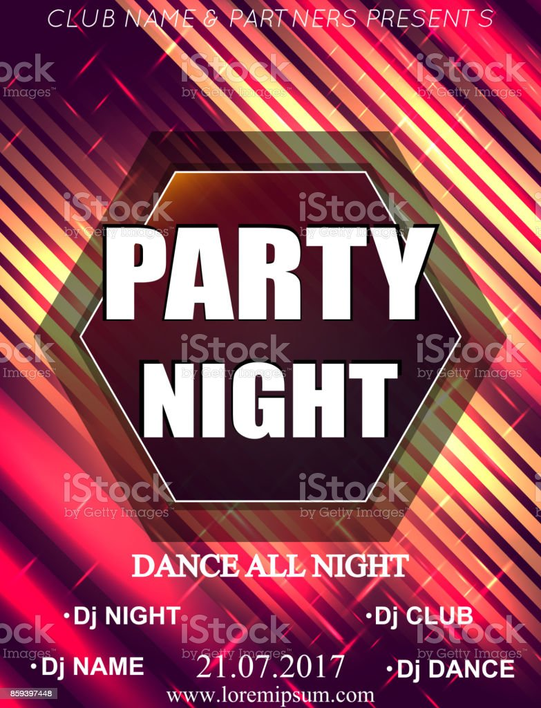 Night Dance Party Poster Background Template Festival Vector Mockup ...