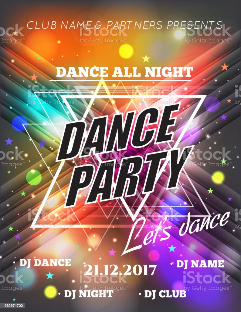 Night Dance Party Poster Background Template Festival Vector Stock ...