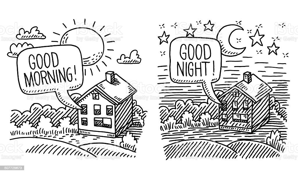 Night Day Time Comparison Drawing Stock Vector Art & More ...