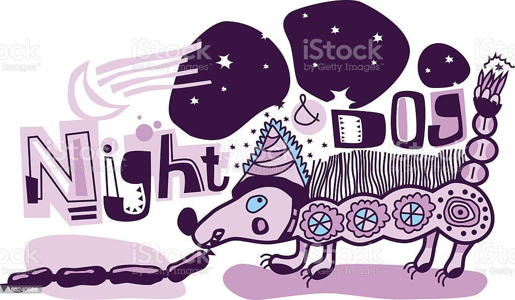 Chien de nuit - Illustration vectorielle