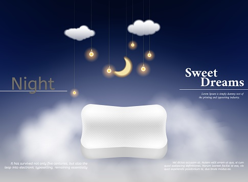 Night dream pillow. Advertizing poster with orthopedic pillow clouds and feathers comfortable space vector realistic concept.