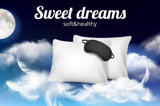 Night dreams poster. Relax concept placard with soft comfortable pillow and sleeping mask on clouds vector realistic template