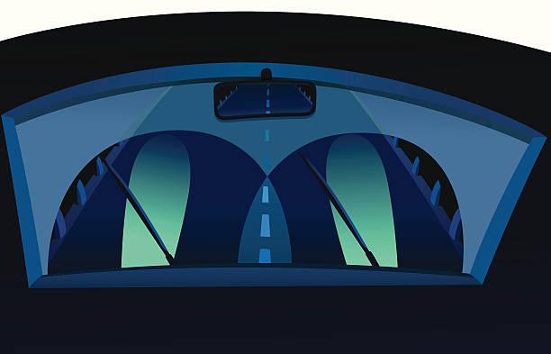 stockillustraties, clipart, cartoons en iconen met night driver - mist donker auto