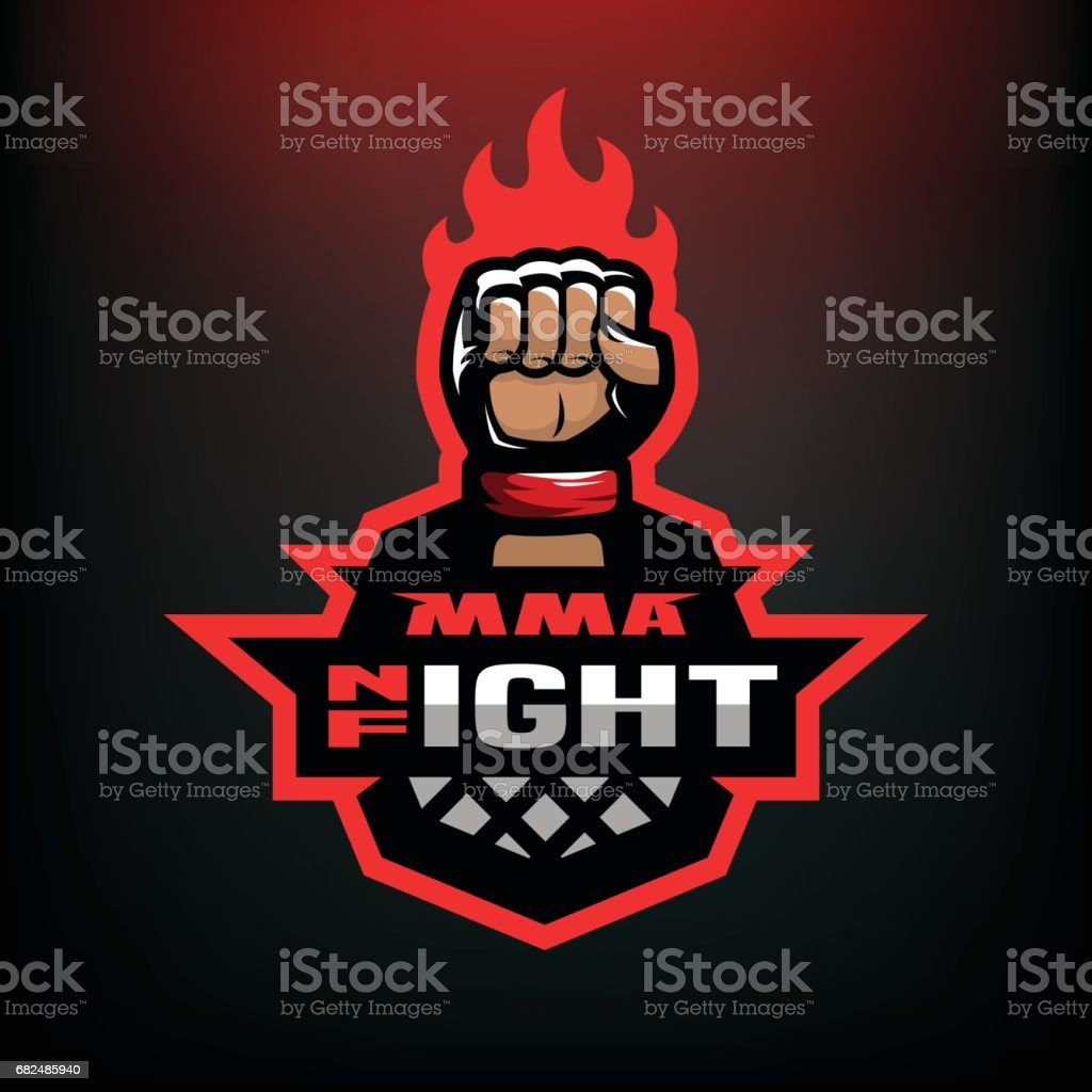 Pelea de la noche. Artes marciales mixtas deporte icono sobre fondo oscuro. - ilustración de arte vectorial