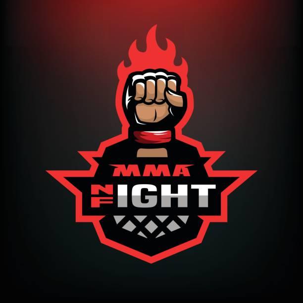 ilustraciones, imágenes clip art, dibujos animados e iconos de stock de pelea de la noche. artes marciales mixtas deporte icono sobre fondo oscuro. - boxeo deporte