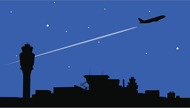 Night Flight Airplane takes off behind airport's control tower. JPG Included. airport silhouettes stock illustrations