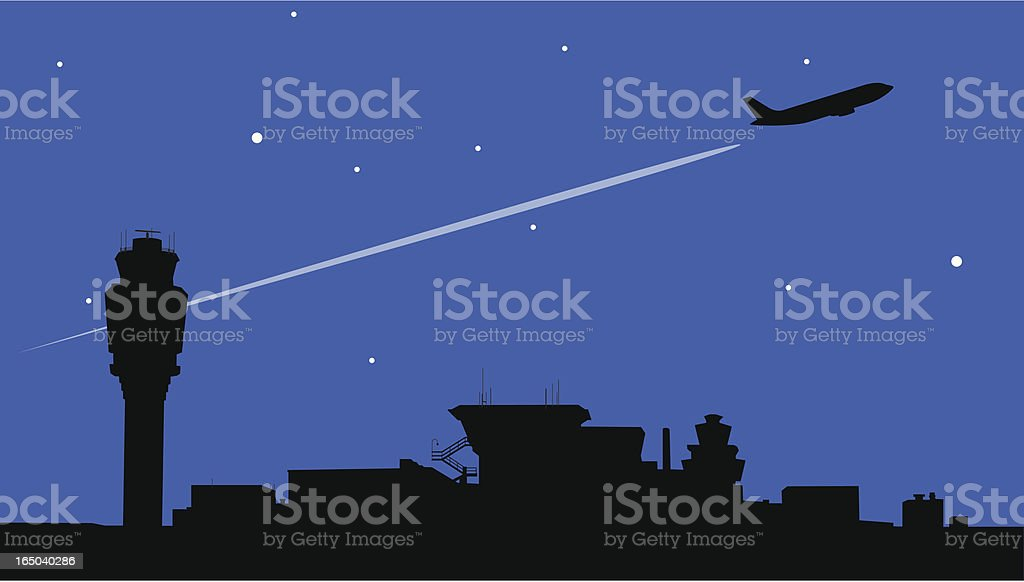 Night Flight向量藝術插圖