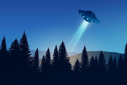 Night forest landscape with UFO. Flying saucer over the dark forest.