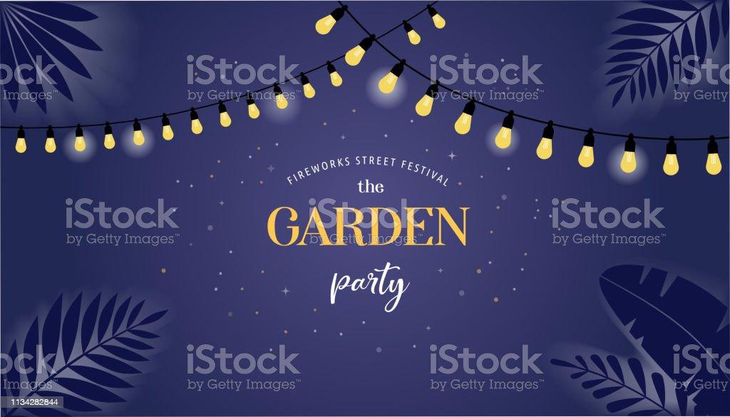 Night garden party banner, invitation card. Vector design template