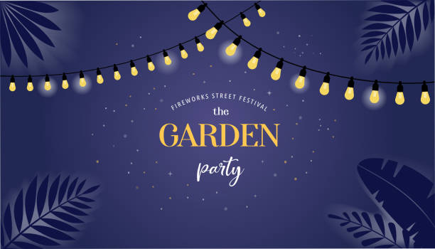 nachtwegengarten-party-banner, einladungskarte. vector design - gartenparty stock-grafiken, -clipart, -cartoons und -symbole