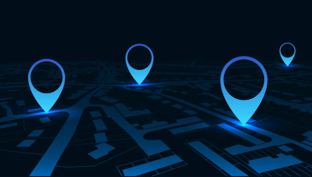 Night GPS navigator location on city map, from place to place – stock vector Night GPS navigator location on city map, from place to place – stock vector global positioning system stock illustrations