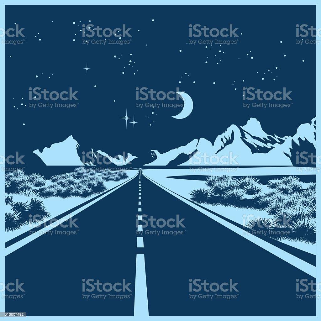 night highway vector art illustration