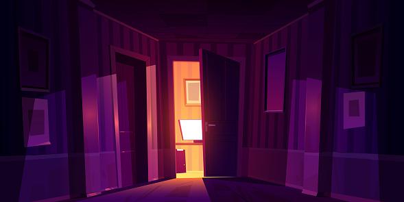 Night home corridor with open door to room with pc