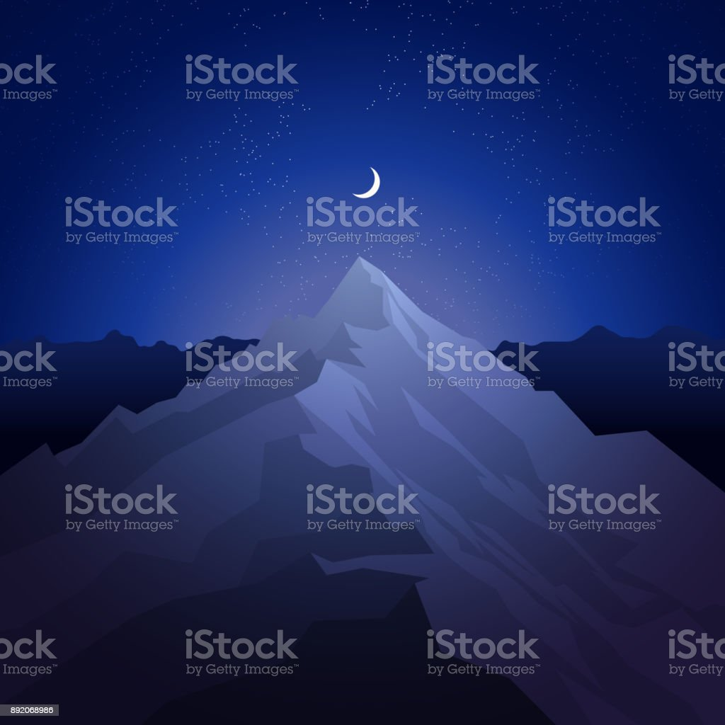 Night in the mountains. Landscape with peak. Mountaineering and traveling and outdoor recreation concept. Abstract background for web, presentations or prints. Vector illustration vector art illustration