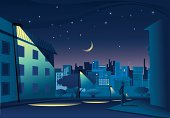 Night in town. Background, skyline and foreground are on different layers.