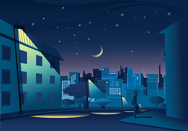 stockillustraties, clipart, cartoons en iconen met night in town - straatlamp