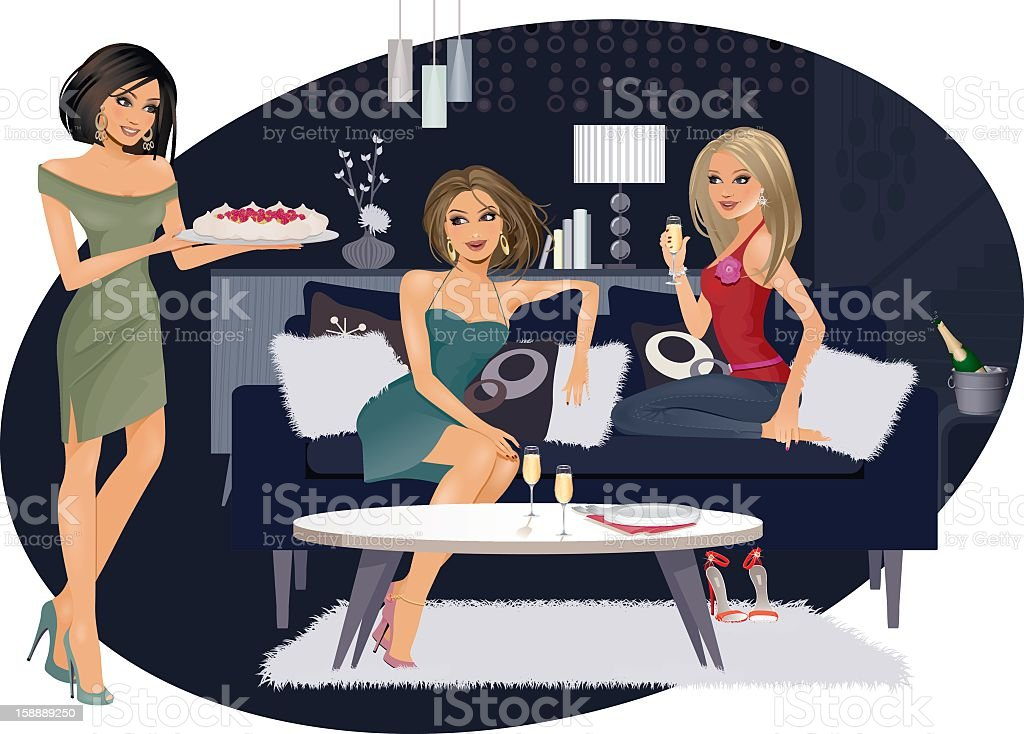 Night in with the girls vector art illustration