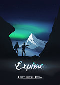 Night inmountains with explore sign poster with hikers,climbers