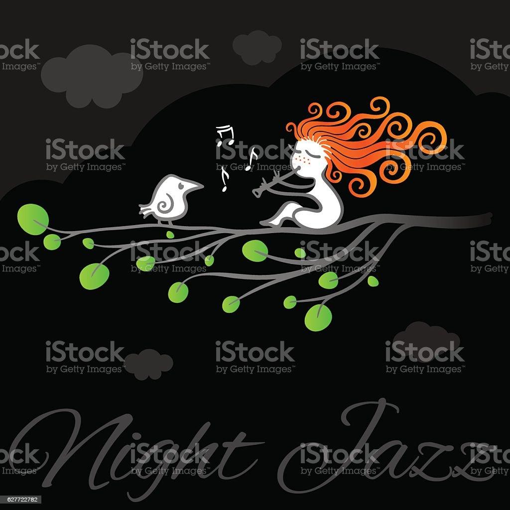 Night jazz vector art poster. vector art illustration