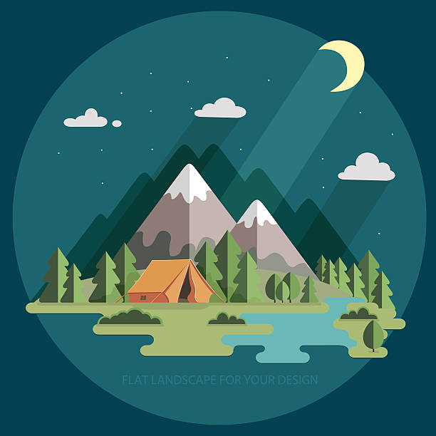 Landscape Illustration Vector Free: Royalty Free Camping Tent Night Clip Art, Vector Images