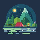 Night landscape in the mountains. Starry sky. Solitude in nature by river. Overnight in a tent. Hiking and camping.